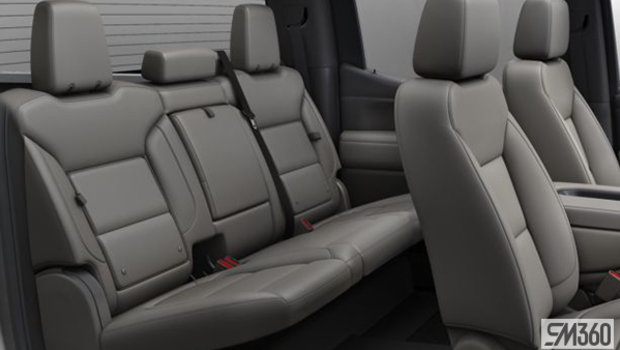 Gideon/Very Dark Atmosphere Perforated Leather-appointed, 40/20/40 bench seat w/ armrest/adjustable lumbar/under-seat storage (AZ3-HVE)