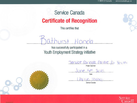 Bathurst Honda has succesfully participated in a Youth Employment Strategy Initiative