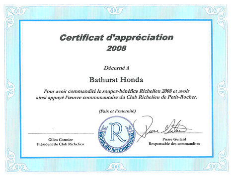 Certificate of Appreciation 2008