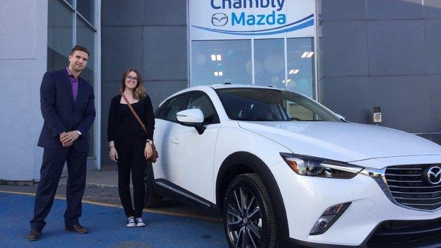 Félicitations Mme Verville pour votre nouvelle Mazda CX3 GT 2017