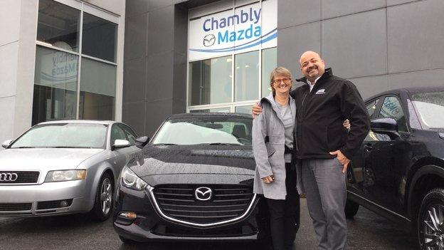 Félicitations à Mme Lapointe pour l'acquisition de sa nouvelle Mazda 3 2017