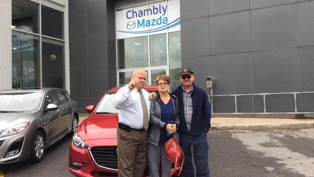 Félicitations Mme Verreault Derome pour l'achat de votre nouvelle Mazda 3 2017