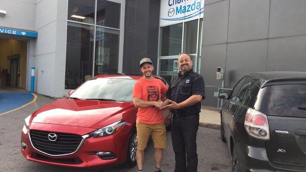 Félicitations à Monsieur Dominic Toupin pour votre nouvelle Mazda 3 sport 2017