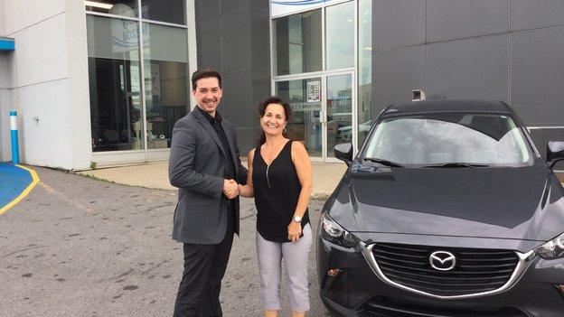 Félicitations Mme Nathalie Audet pour l'acquisition de votre nouvelle Mazda CX3 2017