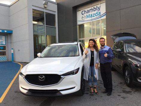 Félicitations Mme Cardoso pour votre nouvelle Mazda CX5 GT.  Merci de votre confiance