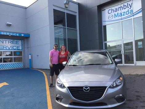 Félicitations Emy Lefebvre Rodrigue pour votre Mazda 3 sport.  Merci de faire confiance à Chambly Mazda