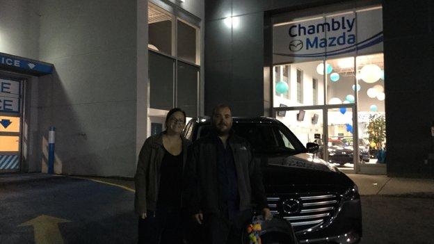 Félicitations à Monsieur Fortin et Mme Arbour Jalbert pour votre nouvelle Mazda CX9 2017