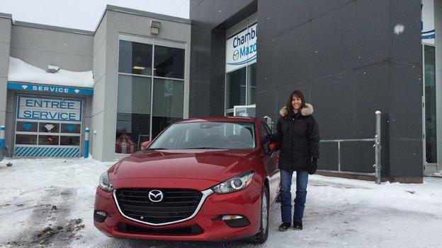 Félicitations Madame Poirier pour votre nouvelle Mazda3 GS 2018