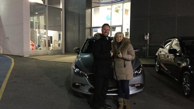 Félicitations Mme De Villeres pour votre Mazda3 2018