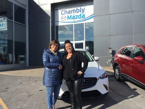 Félicitations à madame Lebel pour sa nouvelle Mazda CX 3