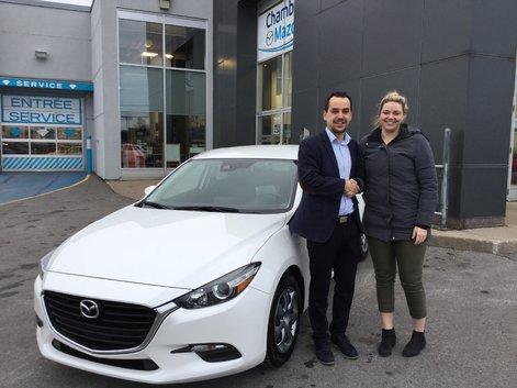 Félicitations à Mme Hébert pour sa Mazda 3 2018