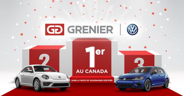 Grenier Volkswagen premier au Canada pour les ventes de véhicules d'occasion certifiés