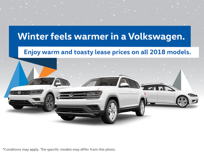 Winter feels warmer in a Volkswagen. Enjoy warm and toasty lease prices on all 2018 models.