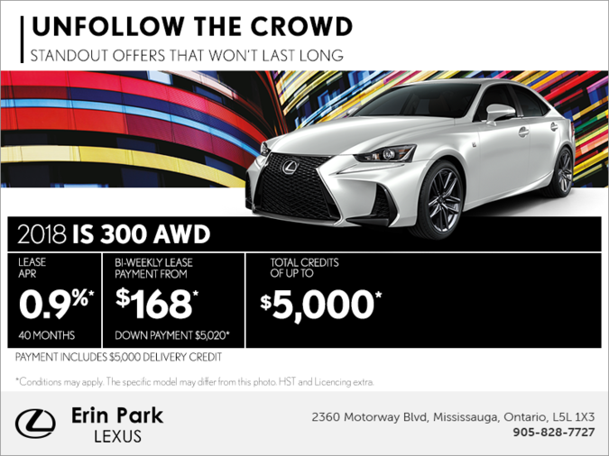 Lexus Is300 Lease >> Get The 2018 Lexus Is 300 Awd Today Erin Park Lexus