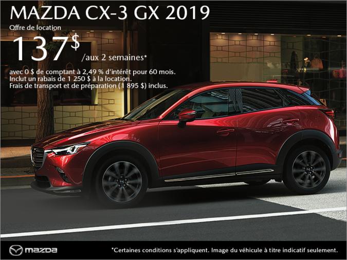 Procurez-vous la Mazda CX-3 2019 aujourd'hui!