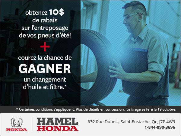 Obtenez 10$ de rabais pour l'entreposage de vos pneus d'été!