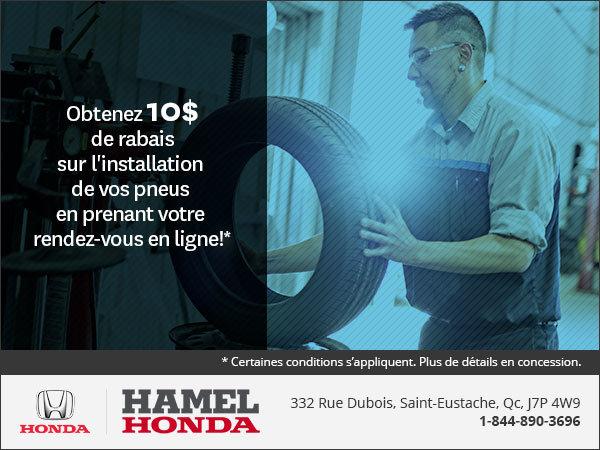 Obtenez 10$ de rabais sur l'installation de vos pneus