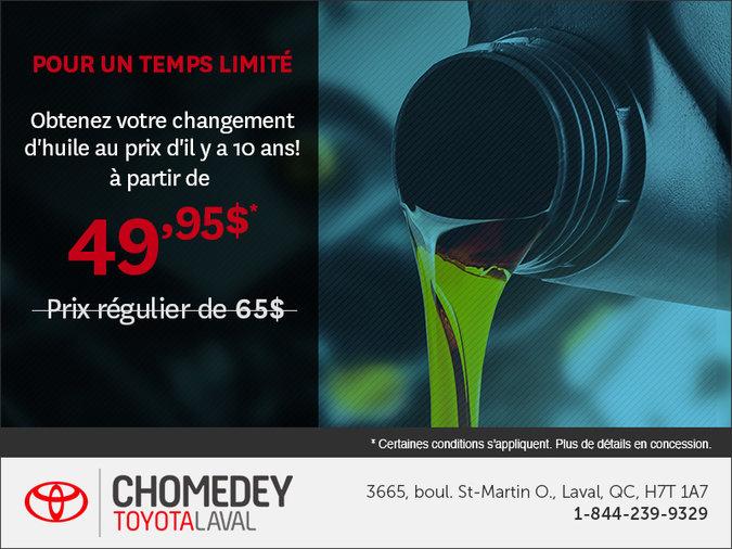 Obtenez votre changement d'huile au prix d'il y a 10 ans!