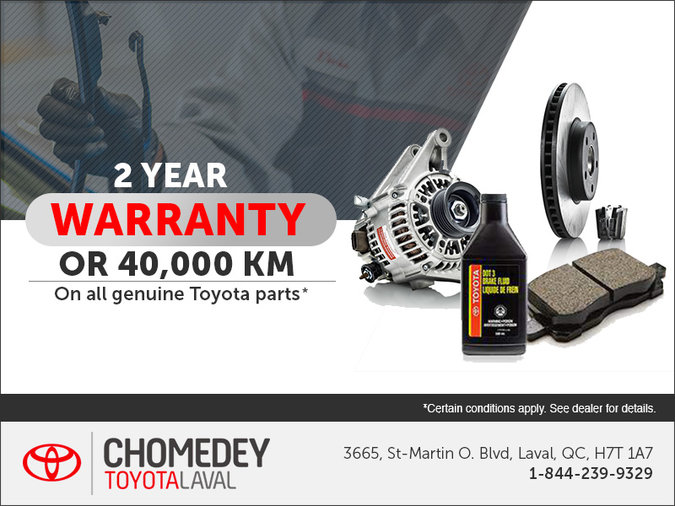 Get a 2 Year Warranty on all Toyota Parts!