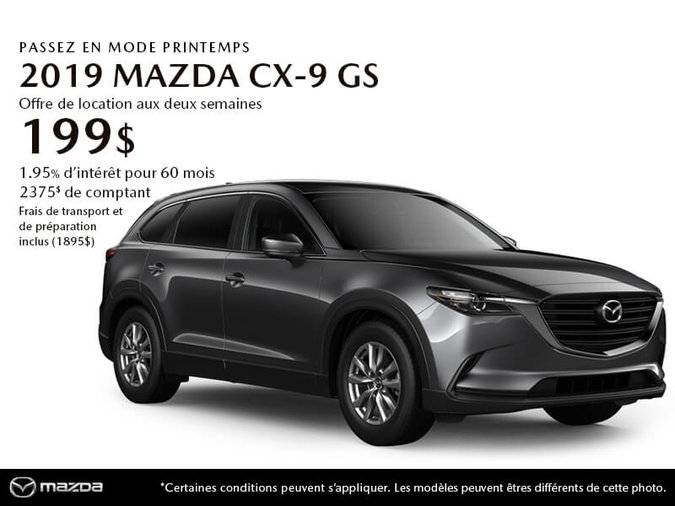 PROCUREZ-VOUS LE MAZDA CX-9 GS 2019 AUJOURD'HUI!