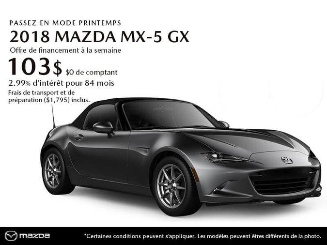 PROCUREZ-VOUS LE MAZDA MX-5 GX 2018 AUJOURD'HUI!
