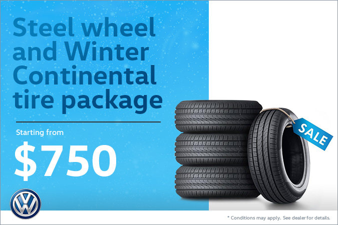 Steel wheel and Winter Continental tire package starting from $750