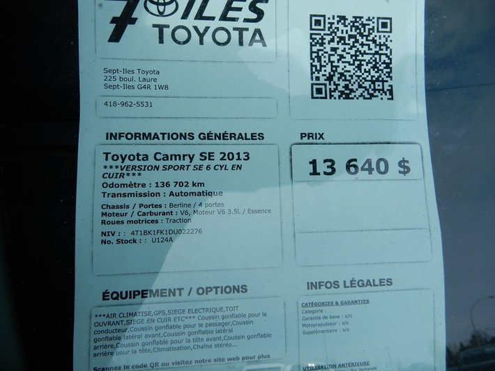 Used 2013 Toyota Camry SE in Sept-Iles - Used inventory - Sept-Iles