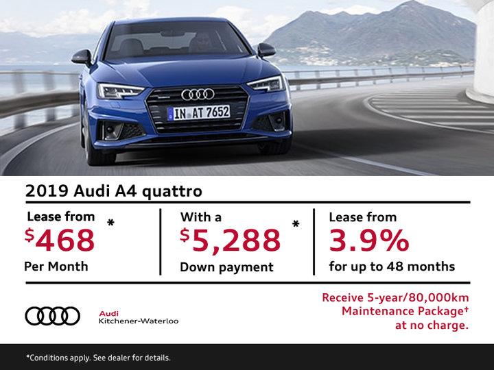 Drive the 2019 Audi A4 quattro Today