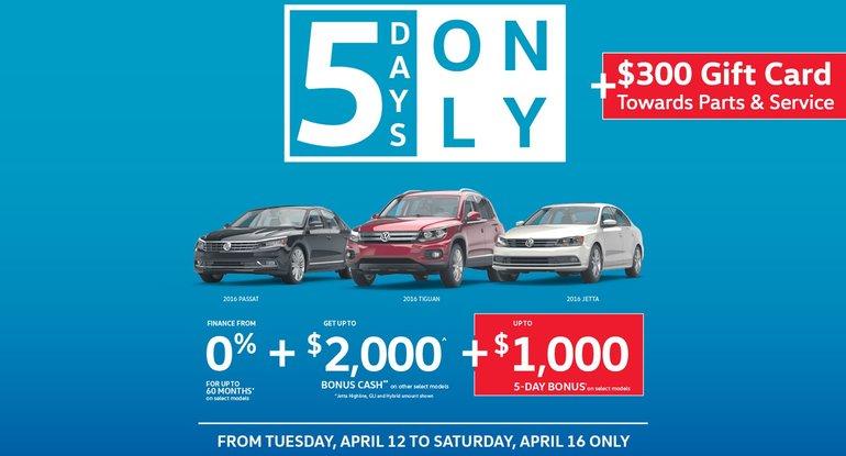 5 Days VW Sale Event