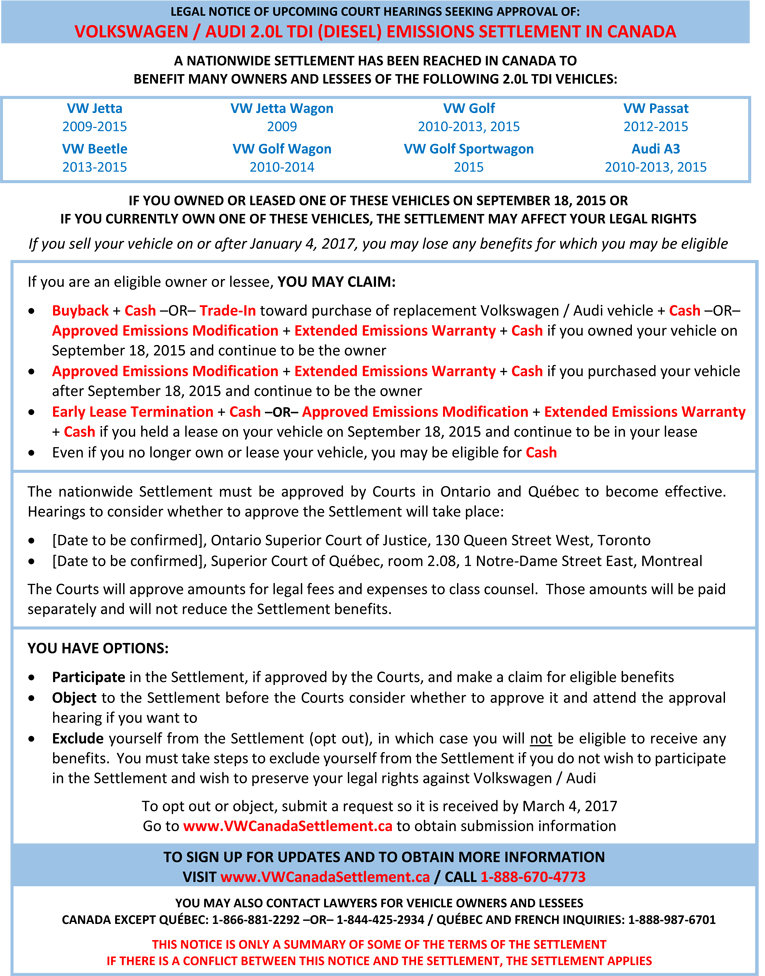 Canadian TDI Emissions Settlement Info