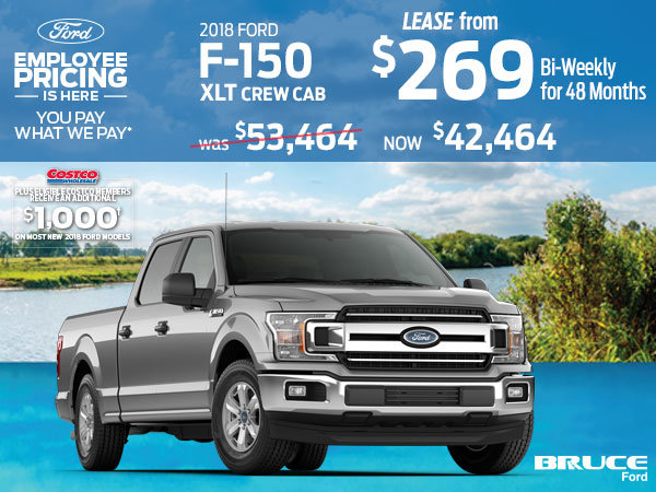 Lease the 2018 Ford F-150 XLT and save $11,000 during Ford Employee Pricing