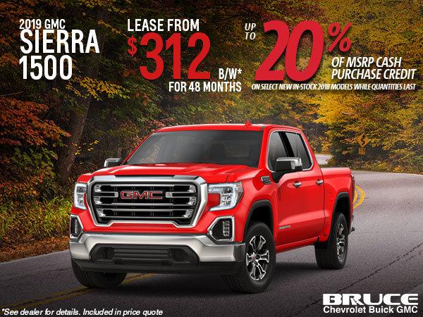 Lease the 2019 Sierra 1500 SLE