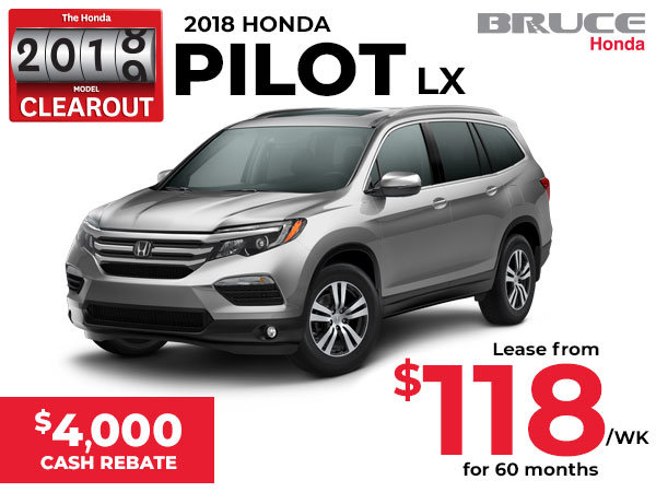 Lease the 2018 Pilot LX for $118 Weekly PLUS $4,000 Cash Rebate