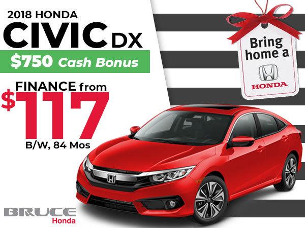 Bring Home a 2018 Honda Civic DX for $117 Bi-Weekly