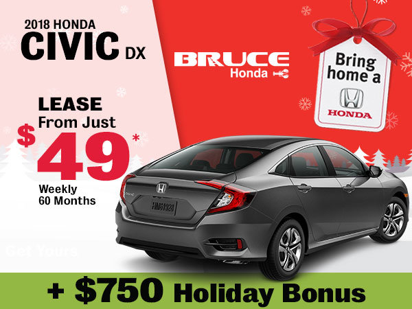 Bring Home the 2018 Honda Civic DX for JUST $49 Weekly