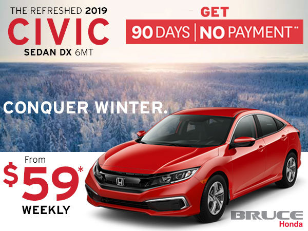 90 Days, No Payments on the Restyled 2019 Honda Civic DX