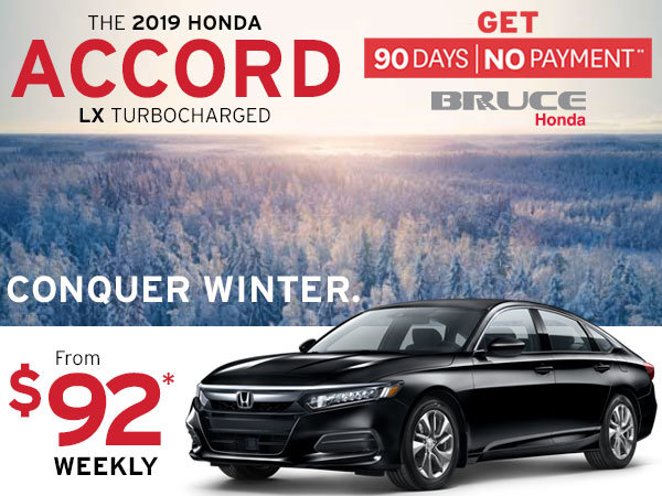 90 Days, No Payment on the 2019 Honda Accord LX