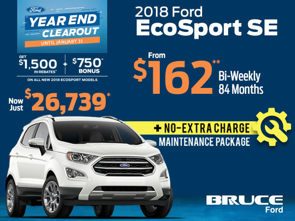 Over $1,500 in Rebates + FREE Maintenance Package with Remaining 2018 EcoSports
