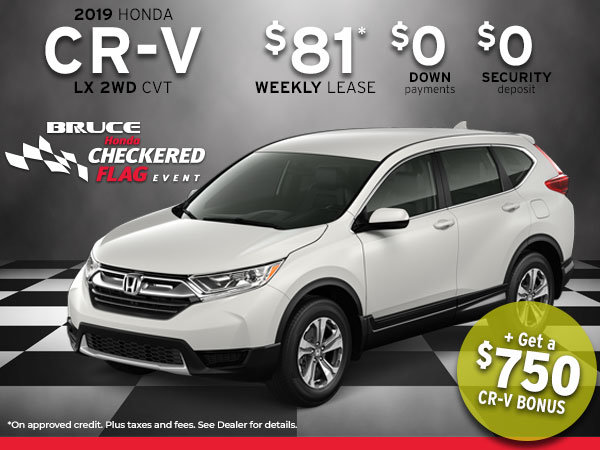 $81 Weekly for 2019 Honda CR-V + Get a $750 CR-V Bonus!
