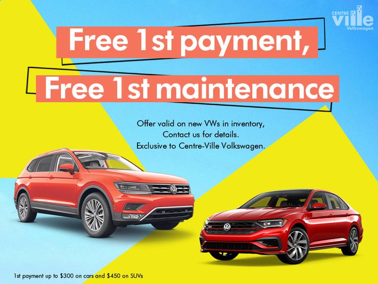 Free 1st payment & Free 1st maintenance   Centre-Ville VW