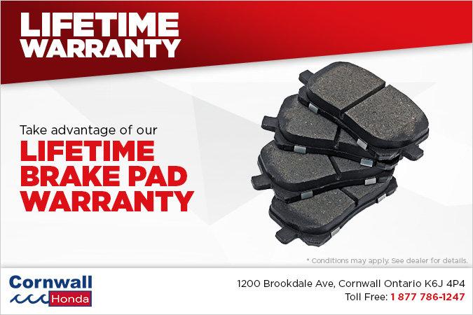 Lifetime Brake Pad Warranty