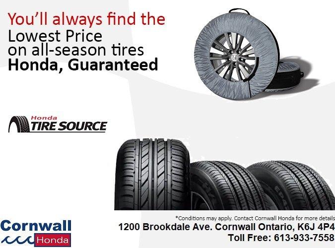 Guaranteed Lowest Price on Tires at Cornwall Honda