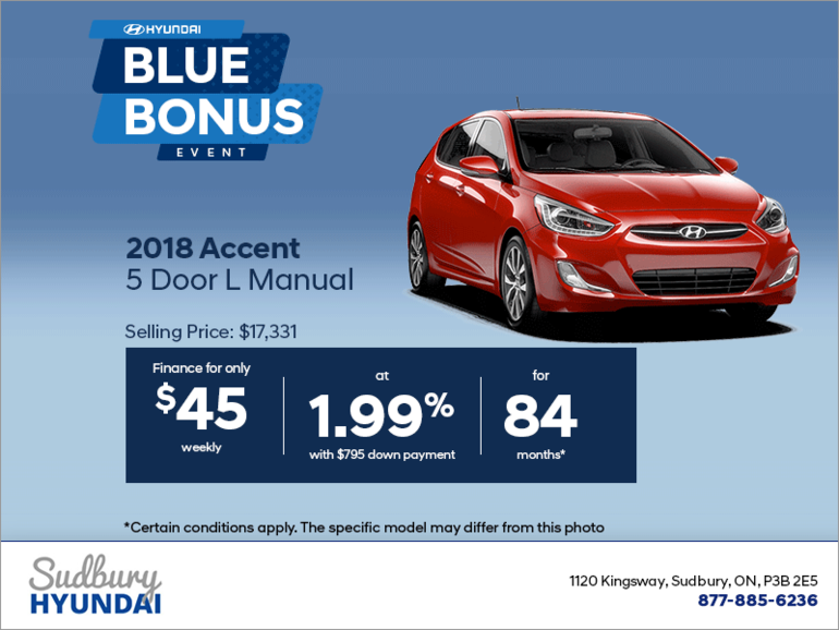 Get the 2018 Accent 5 Door!