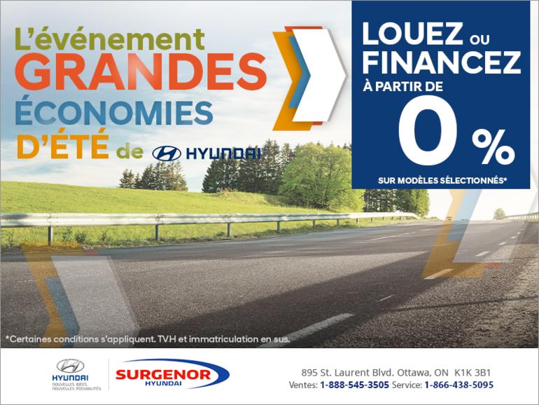 L'événement grandes économies d'été de Hyundai!