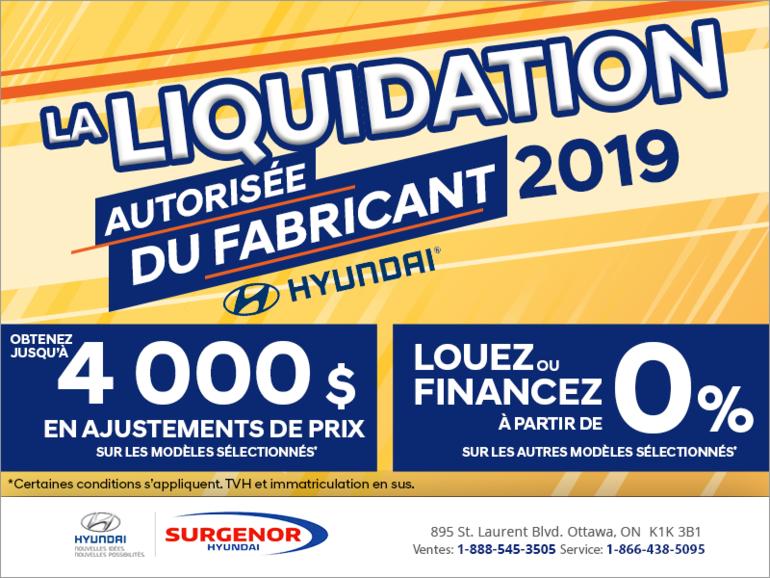 La liquidation autorisée du fabricant 2019 Hyundai!