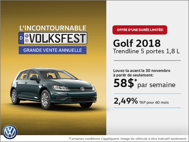 Conduisez la Golf 5 portes 2018 dès aujourd'hui!