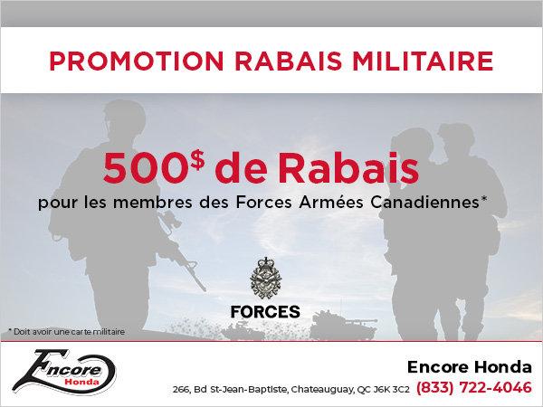 Promotion rabais militaire