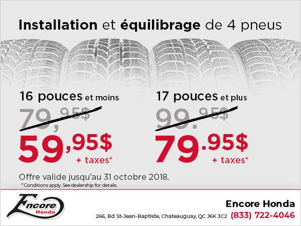 Installation et équilibrage des pneus