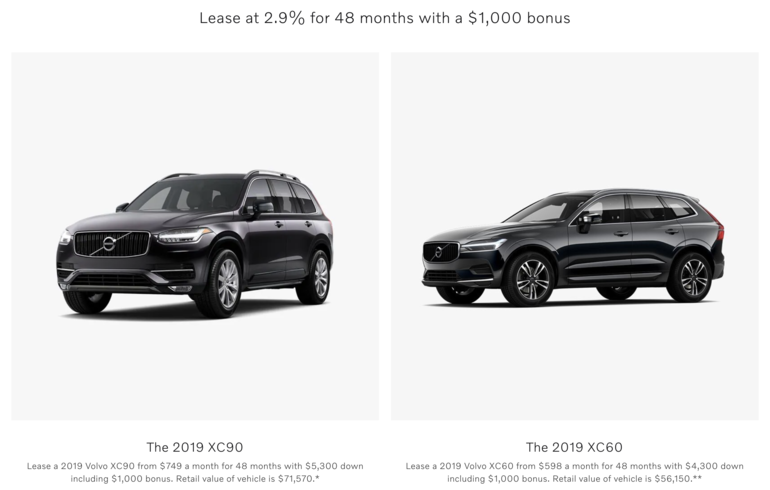 Manufacturer discount on the Volvo XC90 and the XC60