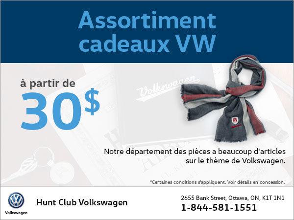 Achetez un assortiment de cadeaux VW à partir de 30$!